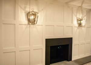 custom basement remodel auburn landing custom builder home fireplace paneling