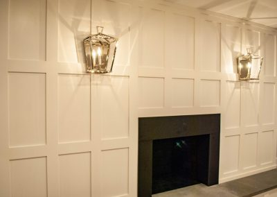 custom basement remodel auburn landing custom builder home fireplace paneling